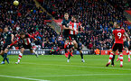 SOUTHAMPTON, ENGLAND - FEBRUARY 15: Jack Stephens(R) of Southampton heads against the bar during the Premier League match between Southampton FC and Burnley FC at St Mary's Stadium on February 15, 2020 in Southampton, United Kingdom. (Photo by Matt Watson/Southampton FC via Getty Images)