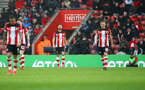 SOUTHAMPTON, ENGLAND - FEBRUARY 15: Southampton players dejected during the Premier League match between Southampton FC and Burnley FC at St Mary's Stadium on February 15, 2020 in Southampton, United Kingdom. (Photo by Matt Watson/Southampton FC via Getty Images)