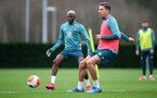 SOUTHAMPTON, ENGLAND - FEBRUARY 18: Moussa Djenepo(L) and Jan Bednarek during a Southampton FC training session at the Staplewood Campus on February 18, 2020 in Southampton, England. (Photo by Matt Watson/Southampton FC via Getty Images)