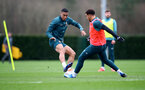 SOUTHAMPTON, ENGLAND - FEBRUARY 18: Yan Valery(L) and Ché Adams during a Southampton FC training session at the Staplewood Campus on February 18, 2020 in Southampton, England. (Photo by Matt Watson/Southampton FC via Getty Images)