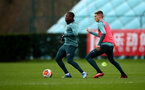 SOUTHAMPTON, ENGLAND - FEBRUARY 18: Michael Obafemi(L) and Will Smallbone during a Southampton FC training session at the Staplewood Campus on February 18, 2020 in Southampton, England. (Photo by Matt Watson/Southampton FC via Getty Images)