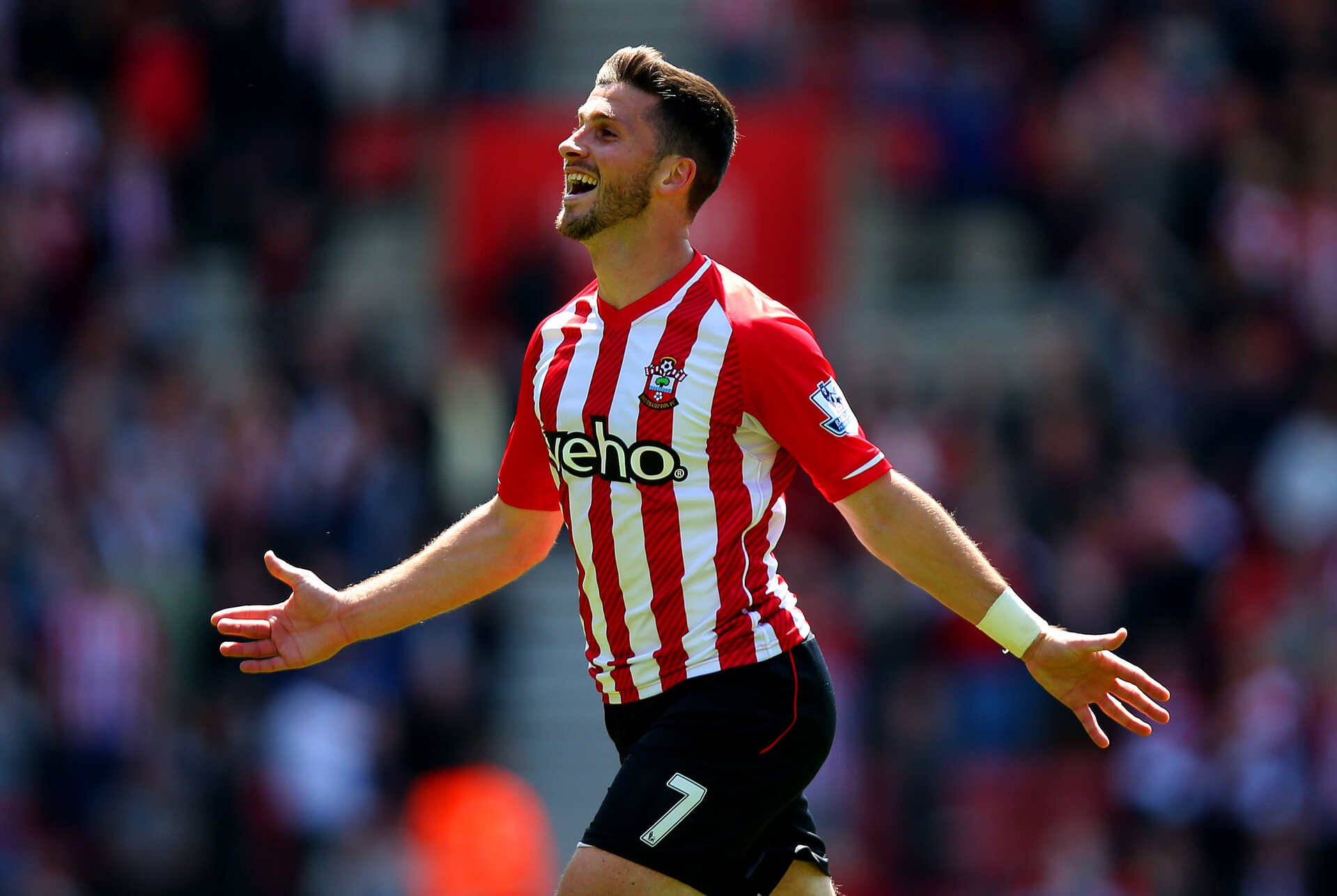 SOUTHAMPTON, ENGLAND - MAY 16:  Shane Long of Southampton celebrates scoring his team's fifth goal during the Barclays Premier League match between Southampton and Aston Villa at St Mary's Stadium on May 16, 2015 in Southampton, England.  (Photo by Bryn Lennon/Getty Images)