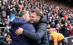 SOUTHAMPTON, ENGLAND - FEBRUARY 22: Dean Smith and Ralph Hasenhüttl during the Premier League match between Southampton FC and Aston Villa at St Mary's Stadium on February 22, 2020 in Southampton, United Kingdom. (Photo by Chris Moorhouse/Southampton FC via Getty Images)