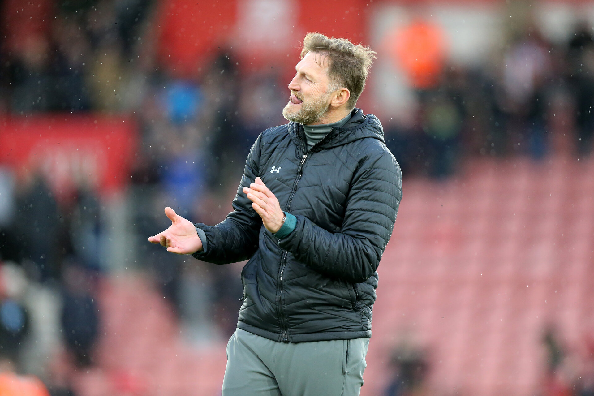 SOUTHAMPTON, ENGLAND - FEBRUARY 22: Ralph Hasenhüttl during the Premier League match between Southampton FC and Aston Villa at St Mary's Stadium on February 22, 2020 in Southampton, United Kingdom. (Photo by Chris Moorhouse/Southampton FC via Getty Images)