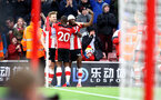 SOUTHAMPTON, ENGLAND - FEBRUARY 22: Stuart Armstrong(L) of Southampton celebrates with his team mates during the Premier League match between Southampton FC and Aston Villa at St Mary's Stadium on February 22, 2020 in Southampton, United Kingdom. (Photo by Matt Watson/Southampton FC via Getty Images)