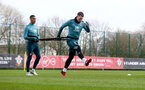 SOUTHAMPTON, ENGLAND - FEBRUARY 25: Yan Valery(L) and Pierre-Emile Højbjerg during a Southampton FC training session at the Staplewood Campus on February 25, 2020 in Southampton, England. (Photo by Matt Watson/Southampton FC via Getty Images)