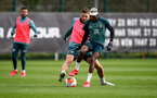 SOUTHAMPTON, ENGLAND - FEBRUARY 25: Jan Bednarek(L) and Moussa Djenepo during a Southampton FC training session at the Staplewood Campus on February 25, 2020 in Southampton, England. (Photo by Matt Watson/Southampton FC via Getty Images)