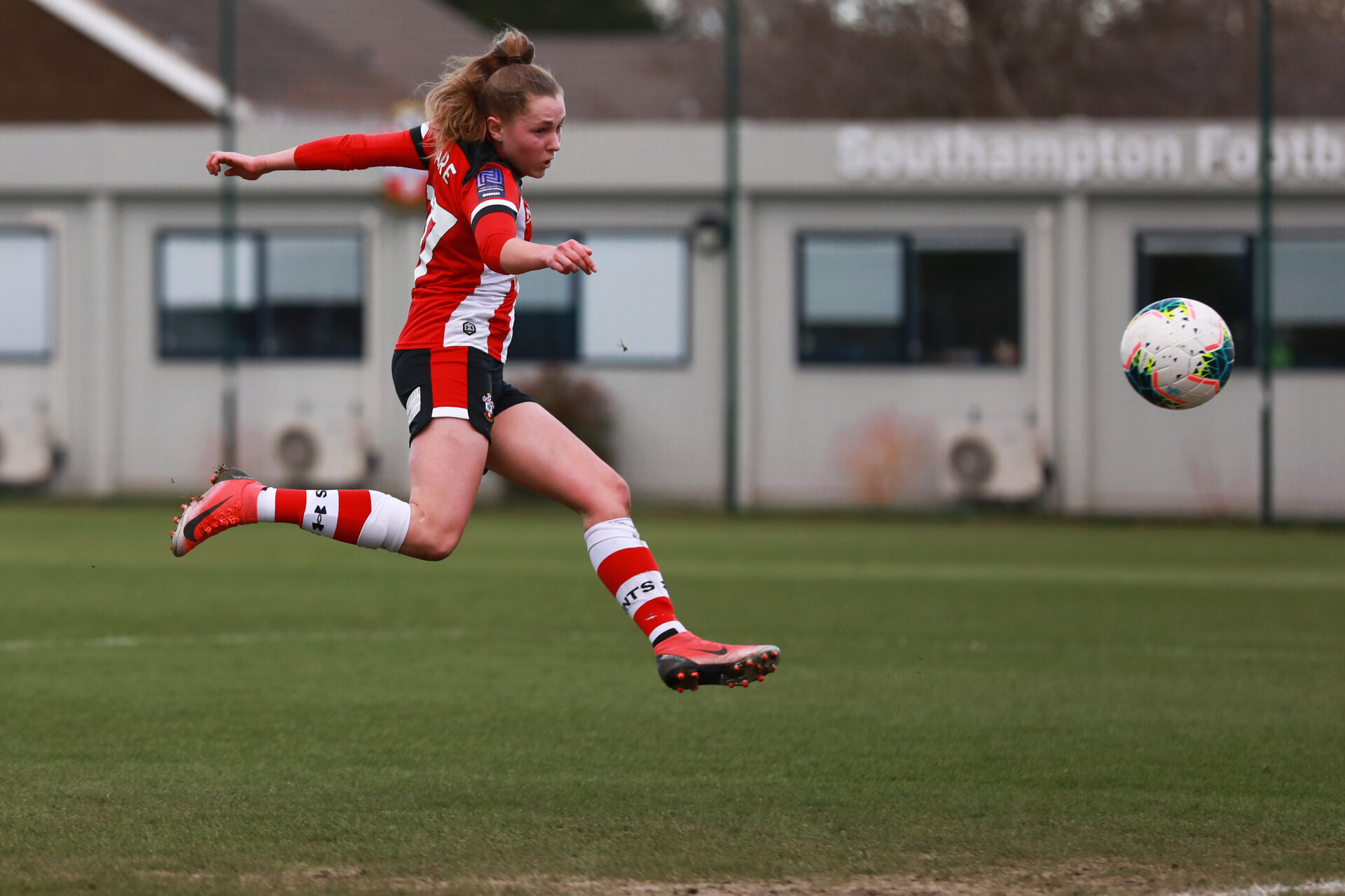 SOUTHAMPTON, ENGLAND - March 1: Alisha Ware of Southampton FC Womens scores her hattrick and her side's sixth goal during the FA Women's National League match between Southampton Women and Maidenhead United at Staplewood Campus on March 1 2020, Exeter, England. (Photo by Tom Mulholland/Southampton FC)