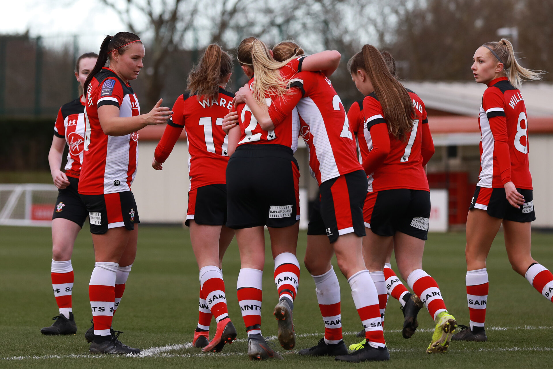SOUTHAMPTON, ENGLAND - March 1: Southampton FC Women's players celebrate after Shannon Albuery of Southampton FC Womens scores her side's fifth goal during the FA Women's National League match between Southampton Women and Maidenhead United at Staplewood Campus on March 1 2020, Exeter, England. (Photo by Tom Mulholland/Southampton FC)