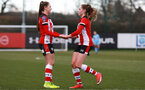 SOUTHAMPTON, ENGLAND - March 1: Alisha Ware of Southampton FC Womens celebrates after scoring her hattrick and her side's sixth goal during the FA Women's National League match between Southampton Women and Maidenhead United at Staplewood Campus on March 1 2020, Exeter, England. (Photo by Tom Mulholland/Southampton FC)