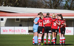 SOUTHAMPTON, ENGLAND - March 1: Southampton FC WomenÕs players huddle during the FA WomenÕs National League match between Southampton Women and Maidenhead United at Staplewood Campus on March 1 2020, Exeter, England. (Photo by Tom Mulholland/Southampton FC) SOUTHAMPTON, ENGLAND - March 1: Southampton FC Women's players huddle during the FA Women's National League match between Southampton Women and Maidenhead United at Staplewood Campus on March 1 2020, Exeter, England. (Photo by Tom Mulholland/Southampton FC)