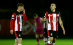 SOUTHAMPTON, ENGLAND - MARCH 02: Kameron Ledwidge (L) and Oriol Romeu (R) during PL2 match between Southampton and Leicester City at Staplewood Training Center on March 02 2020 in Southampton England (Photo by Isabelle Field/Southampton FC via Getty Images)