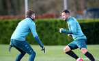 SOUTHAMPTON, ENGLAND - MARCH 03: Jack Stephens(L) and Danny Ings during a Southampton FC training session at the Staplewood Campus on March 03, 2020 in Southampton, England. (Photo by Matt Watson/Southampton FC via Getty Images)