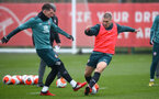 SOUTHAMPTON, ENGLAND - MARCH 04: Pierre-Emile Højbjerg(L) and Oriol Romeu during a Southampton FC training session at the Staplewood Campus on March 04, 2020 in Southampton, England. (Photo by Matt Watson/Southampton FC via Getty Images)