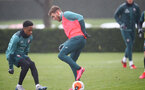 SOUTHAMPTON, ENGLAND - MARCH 04: Kyle Walker-Peters(L) and Jake Vokins during a Southampton FC training session at the Staplewood Campus on March 04, 2020 in Southampton, England. (Photo by Matt Watson/Southampton FC via Getty Images)