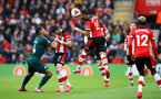 SOUTHAMPTON, ENGLAND - MARCH 07: Ryan Bertrand of Southampton wins the ball in the air during the Premier League match between Southampton FC and Newcastle United at St Mary's Stadium on March 07, 2020 in Southampton, United Kingdom. (Photo by Matt Watson/Southampton FC via Getty Images)