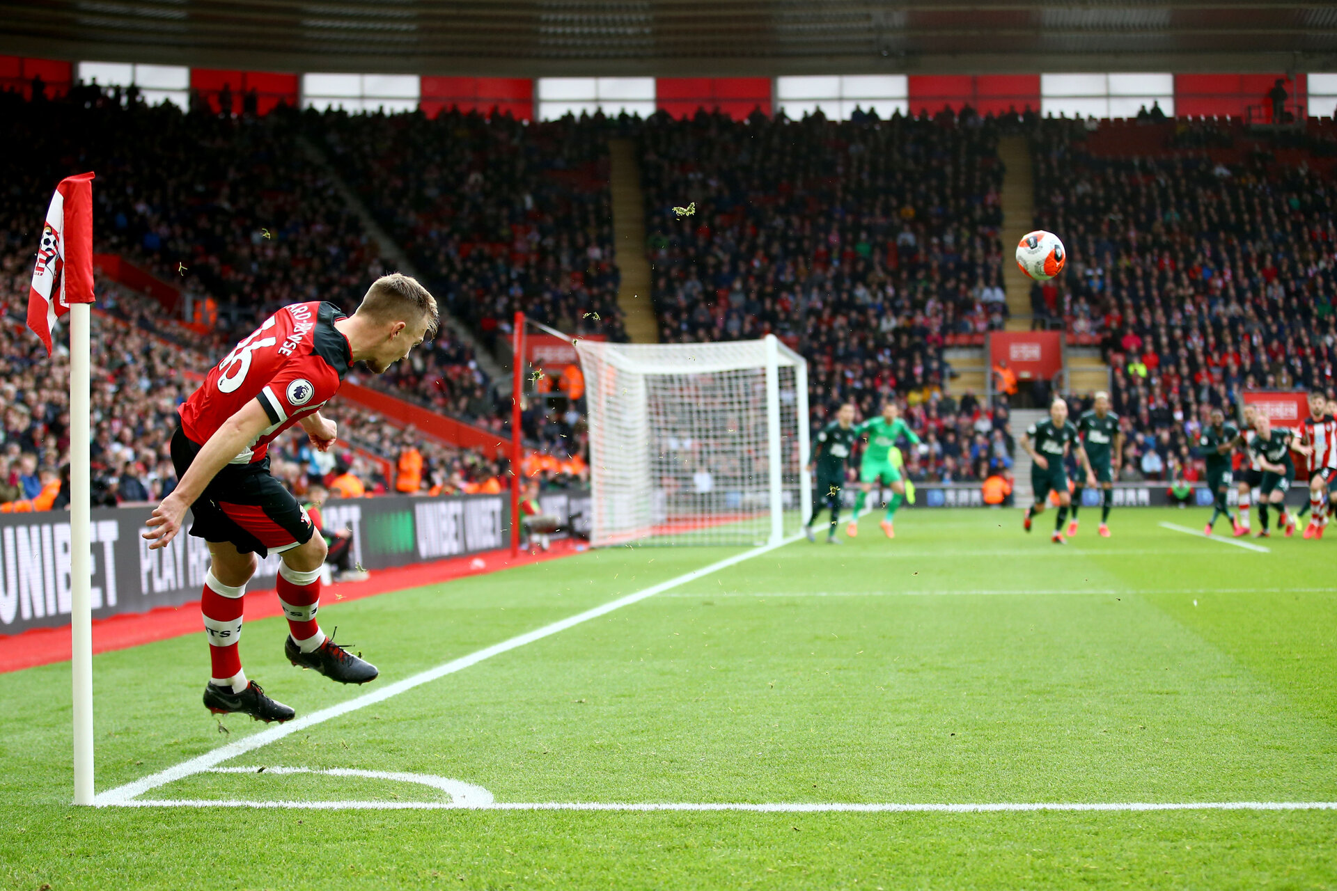 SOUTHAMPTON, ENGLAND - MARCH 07: James Ward-Prowse during the Premier League match between Southampton FC and Newcastle United at St Mary's Stadium on March 7, 2020 in Southampton, United Kingdom. (Photo by Isabelle Field/Southampton FC via Getty Images)