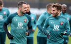 SOUTHAMPTON, ENGLAND - MARCH 10: Danny Ings(L) and Jake Vokins during a Southampton FC training session at the Staplewood Campus on March 08, 2020 in Southampton, England. (Photo by Matt Watson/Southampton FC via Getty Images)