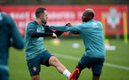 SOUTHAMPTON, ENGLAND - MARCH 10: Danny Ings(L) and Moussa Djenepo during a Southampton FC training session at the Staplewood Campus on March 08, 2020 in Southampton, England. (Photo by Matt Watson/Southampton FC via Getty Images)