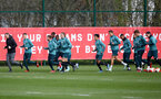SOUTHAMPTON, ENGLAND - MARCH 11: Players warm up during a Southampton FC training session at the Staplewood Campus on March 11, 2020 in Southampton, England. (Photo by Matt Watson/Southampton FC via Getty Images)