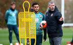SOUTHAMPTON, ENGLAND - MARCH 12: Ché Adams(L) and Kelvin Davis during a Southampton FC training session at the Staplewood Campus on March 12, 2020 in Southampton, England. (Photo by Matt Watson/Southampton FC via Getty Images)