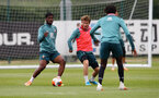 SOUTHAMPTON, ENGLAND - JUNE 09: Kevin Danso(L) and Jake Vokins during a Southampton FC training session at the Staplewood Campus on June 09, 2020 in Southampton, England. (Photo by Matt Watson/Southampton FC via Getty Images)