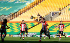 NORWICH, ENGLAND - JUNE 19: Danny Ings goal celebration during the Premier League match between Norwich City and Southampton FC at Carrow Road on June 19, 2020 in Norwich, United Kingdom. (Photo by Matt Watson/Southampton FC via Getty Images)