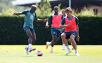 SOUTHAMPTON, ENGLAND - JUNE 23: Moussa Djenepo(L) and Jannik Vestergaard during a Southampton FC training session at the Staplewood Campus on June 23, 2020 in Southampton, England. (Photo by Matt Watson/Southampton FC via Getty Images)