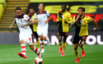 WATFORD, ENGLAND - JUNE 28: (L) Danny Ings and (R) Kiko Femenia during the Premier League match between Watford FC and Southampton FC at Vicarage Road on April 4, 2020 in Watford, United Kingdom. (Photo by Matt Watson/Southampton FC via Getty Images)