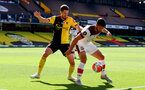 WATFORD, ENGLAND - JUNE 28: (L) Craig Cathcart and (R) Shane Long during the Premier League match between Watford FC and Southampton FC at Vicarage Road on April 4, 2020 in Watford, United Kingdom. (Photo by Matt Watson/Southampton FC via Getty Images)