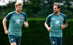 SOUTHAMPTON, ENGLAND - JULY 03: Stuart Armstrong(L) and Danny Ings during a Southampton FC training session at the Staplewood Campus on July 03, 2020 in Southampton, England. (Photo by Matt Watson/Southampton FC via Getty Images)