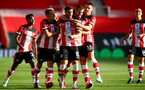 SOUTHAMPTON, ENGLAND - JULY 05: saints clebrating Ché Adams goal  during the Premier League match between Southampton FC and Manchester City at St Mary's Stadium on July 5, 2020 in Southampton, United Kingdom. Football Stadiums around Europe remain empty due to the Coronavirus Pandemic as Government social distancing laws prohibit fans inside venues resulting in games being played behind closed doors. (Photo by Matt Watson/Southampton FC via Getty Images)