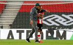 SOUTHAMPTON, ENGLAND - JULY 05: Ralph Hasenhuttl (L) and Nathan Redmond(R) during the Premier League match between Southampton FC and Manchester City at St Mary's Stadium on July 5, 2020 in Southampton, United Kingdom. Football Stadiums around Europe remain empty due to the Coronavirus Pandemic as Government social distancing laws prohibit fans inside venues resulting in games being played behind closed doors. (Photo by Matt Watson/Southampton FC via Getty Images)