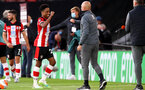 SOUTHAMPTON, ENGLAND - JULY 05: Kyle Walker-Peters (L) and Craig Fleming (R) during the Premier League match between Southampton FC and Manchester City at St Mary's Stadium on July 5, 2020 in Southampton, United Kingdom. Football Stadiums around Europe remain empty due to the Coronavirus Pandemic as Government social distancing laws prohibit fans inside venues resulting in games being played behind closed doors. (Photo by Matt Watson/Southampton FC via Getty Images)