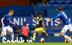 SOUTHAMPTON, ENGLAND - JULY 09: Anythony Gordon (L) and Kyle Walker-Peters (R) during the Premier League match between Everton FC and Southampton FC at Goodison Park on July 9, 2020 in Liverpool, United Kingdom. Football Stadiums around Europe remain empty due to the Coronavirus Pandemic as Government social distancing laws prohibit fans inside venues resulting in games being played behind closed doors. (Photo by Matt Watson/Southampton FC)