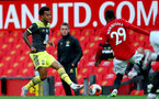 MANCHESTER, ENGLAND - JULY 13: Ryan Bertrand (L) and Aaron Wan-Bissaka (R) during the Premier League match between Manchester United and Southampton FC at Old Trafford on July 13, 2020 in Manchester, United Kingdom. Football Stadiums around Europe remain empty due to the Coronavirus Pandemic as Government social distancing laws prohibit fans inside venues resulting in all fixtures being played behind closed doors. (Photo by Matt Watson/Southampton FC via Getty Images)