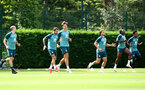 SOUTHAMPTON, ENGLAND - JULY 18: Players warm up during a Southampton FC training session at the Staplewood Campus on July 18, 2020 in Southampton, England. (Photo by Matt Watson/Southampton FC via Getty Images)
