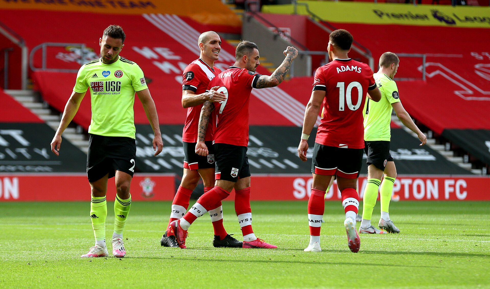 SOUTHAMPTON, ENGLAND - JULY 26: Danny Ings(centre) of Southampton celebrates after scoring from the penalty spot during the Premier League match between Southampton FC and Sheffield United at St Mary's Stadium on July 26, 2020 in Southampton, United Kingdom. (Photo by Matt Watson/Southampton FC via Getty Images)
