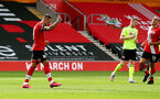 SOUTHAMPTON, ENGLAND - JULY 26: Danny Ings(L) of Southampton celebrates after scoring from the penalty spot during the Premier League match between Southampton FC and Sheffield United at St Mary's Stadium on July 26, 2020 in Southampton, United Kingdom. (Photo by Matt Watson/Southampton FC via Getty Images)