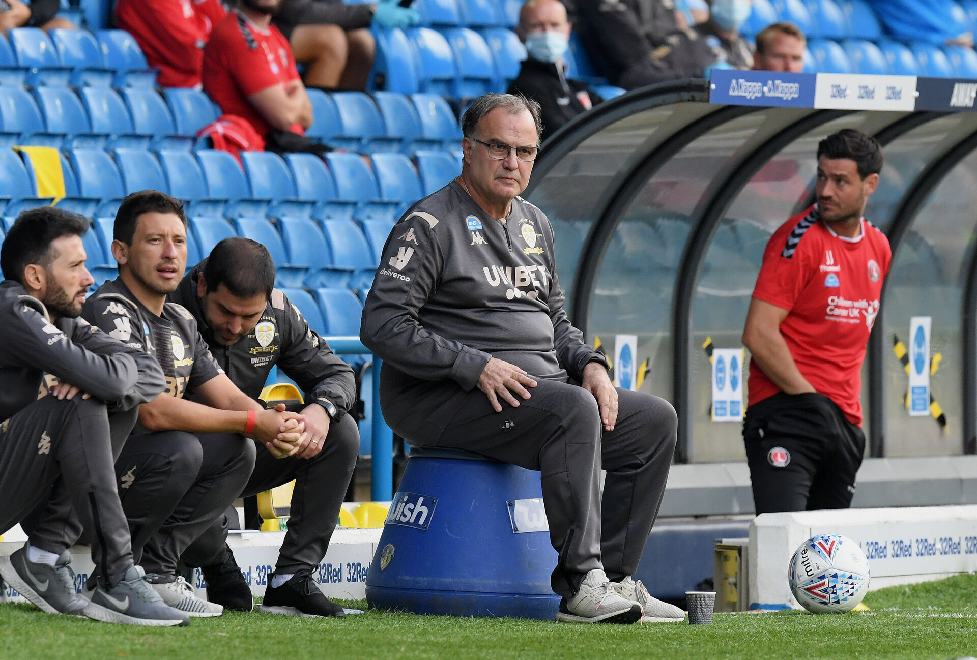 LEEDS, ENGLAND - JULY 22: Marcelo Bielsa, Manager of Leeds United watches the play during the Sky Bet Championship match between Leeds United and Charlton Athletic at Elland Road on July 22, 2020 in Leeds, England. Football Stadiums around Europe remain empty due to the Coronavirus Pandemic as Government social distancing laws prohibit fans inside venues resulting in all fixtures being played behind closed doors. (Photo by Michael Regan/Getty Images)