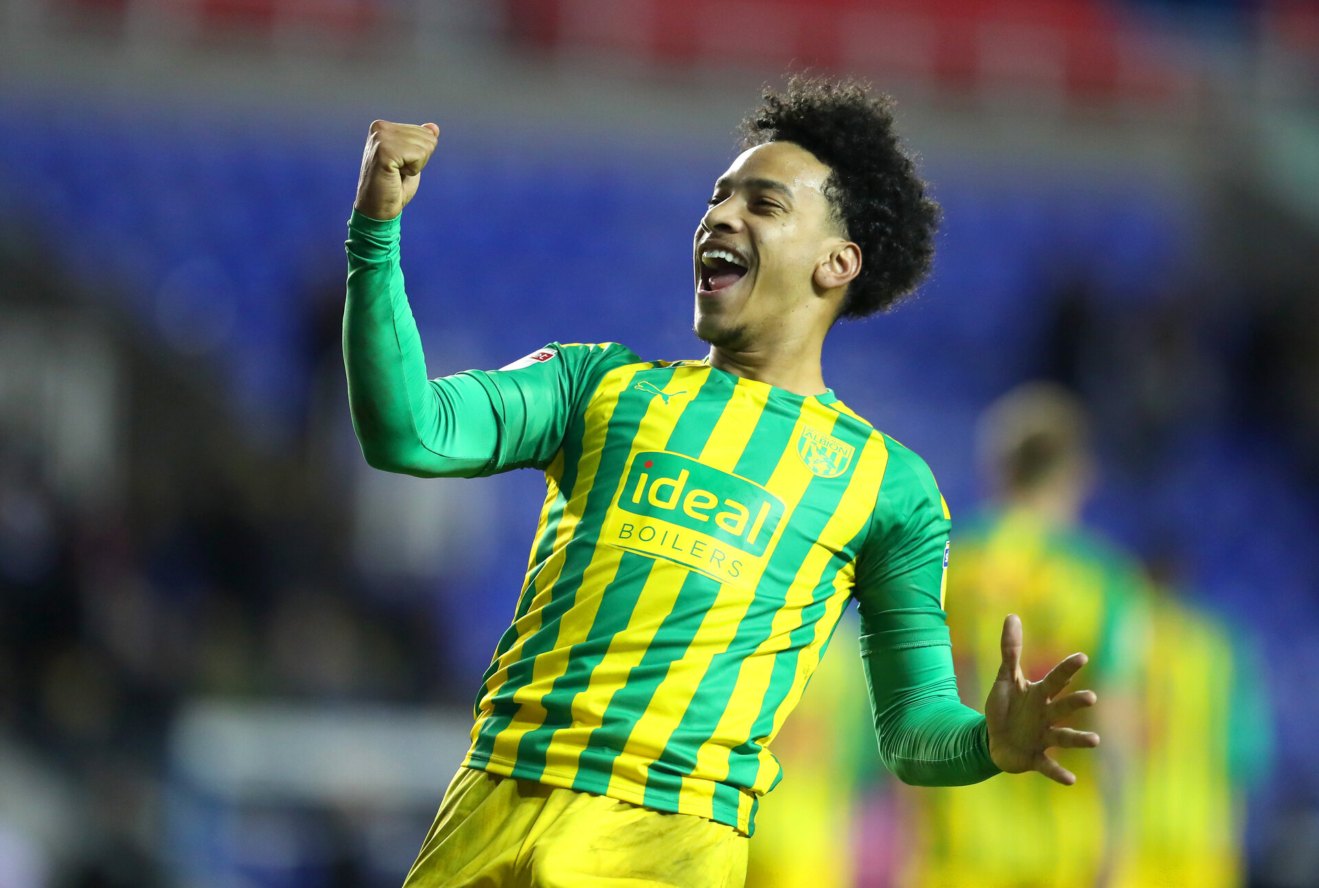 READING, ENGLAND - FEBRUARY 12: Matheus Pereira of West Bromwich Albion celebrates victory during the Sky Bet Championship match between Reading and West Bromwich Albion at Madejski Stadium on February 12, 2020 in Reading, England. (Photo by Catherine Ivill/Getty Images)