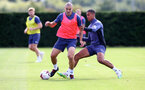 SOUTHAMPTON, ENGLAND - AUGUST 28: Oriol Romeu(L) and Yan Valery during a Southampton FC training session at the Staplewood Campus on August 28, 2020 in Southampton, England. (Photo by Matt Watson/Southampton FC via Getty Images)