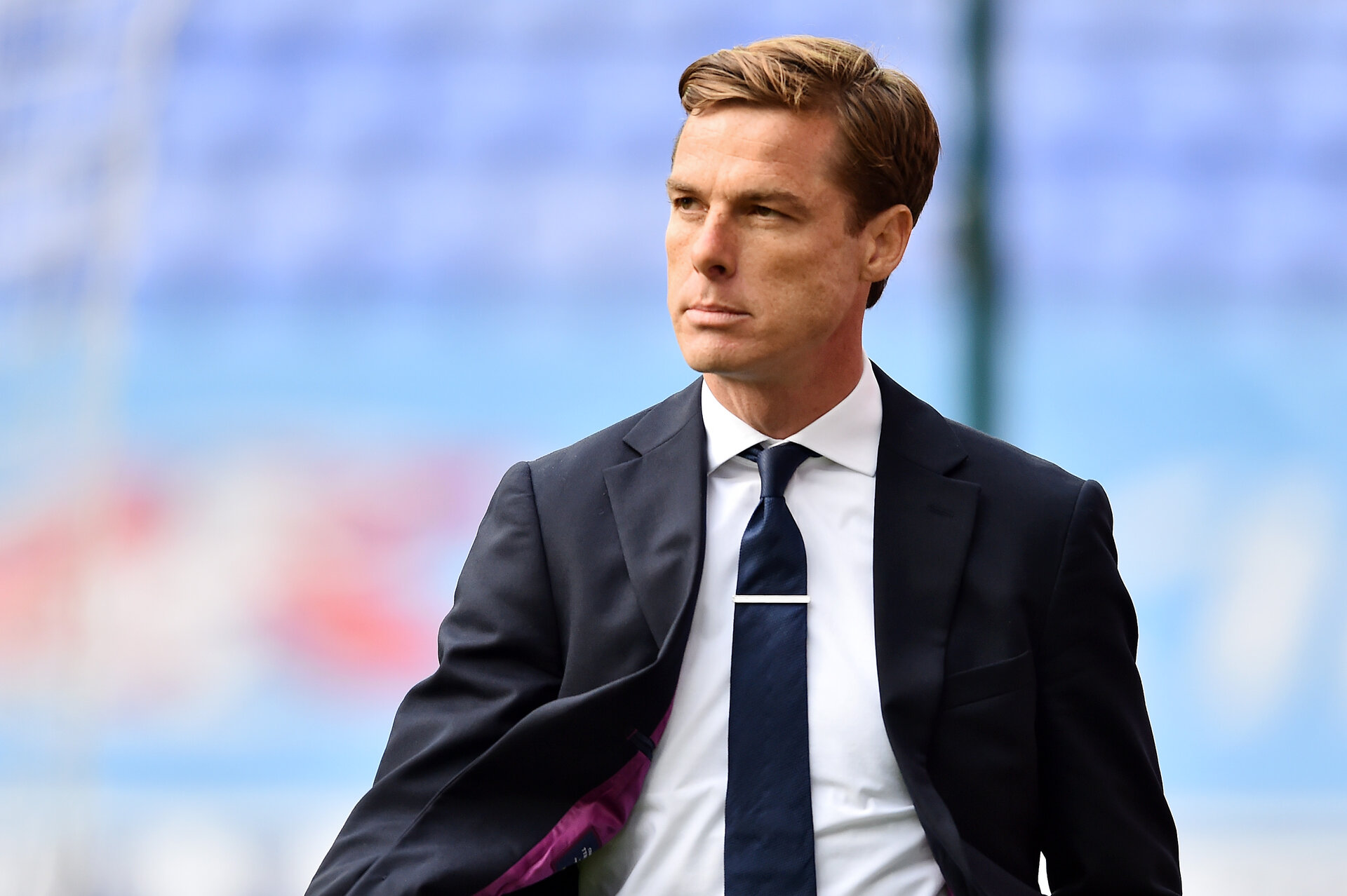 WIGAN, ENGLAND - JULY 22: Scott Parker, Manager of Fulham is seen prior the Sky Bet Championship match between Wigan Athletic and Fulham at DW Stadium on July 22, 2020 in Wigan, England. Football Stadiums around Europe remain empty due to the Coronavirus Pandemic as Government social distancing laws prohibit fans inside venues resulting in all fixtures being played behind closed doors. (Photo by Nathan Stirk/Getty Images)