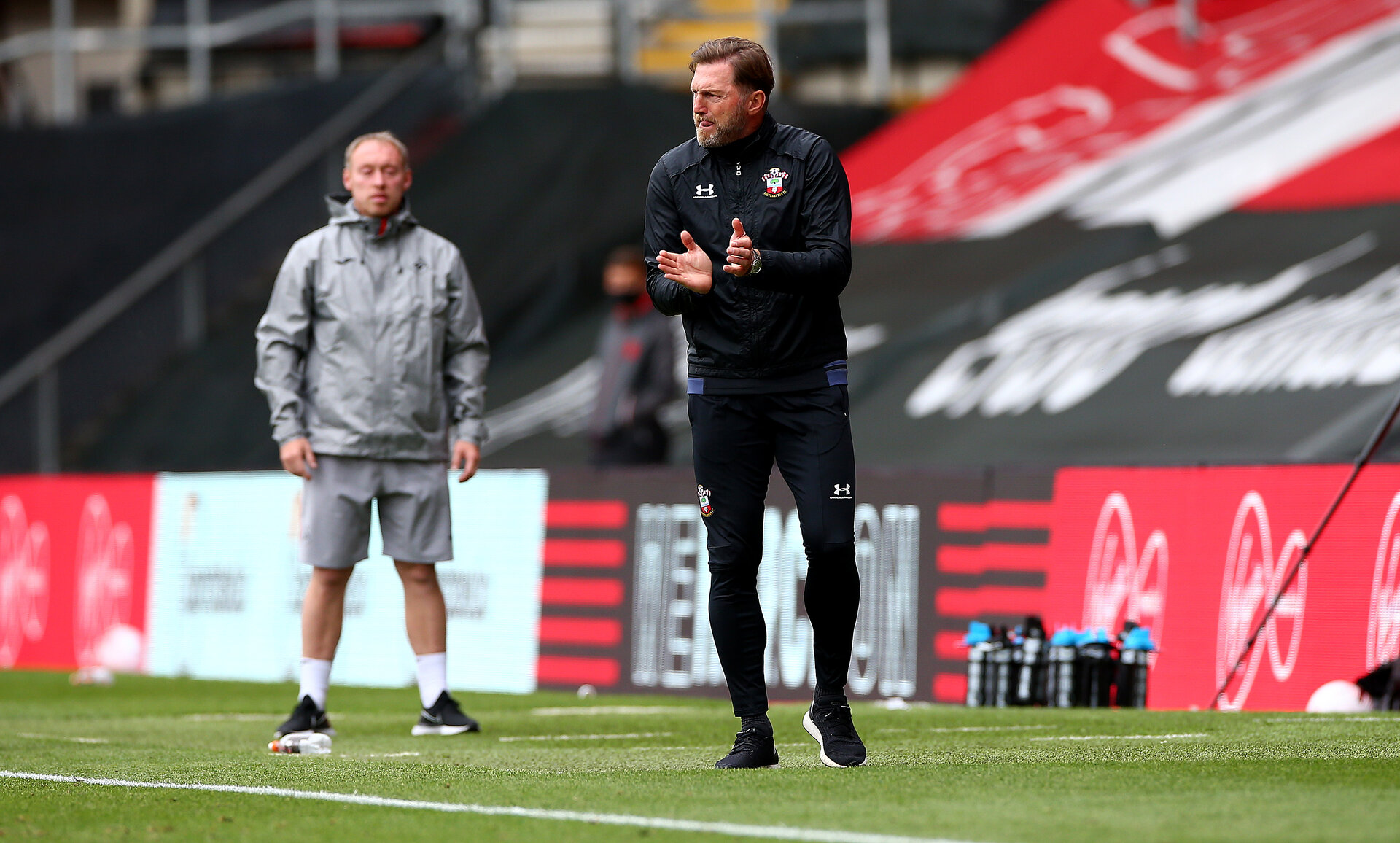 SOUTHAMPTON, ENGLAND - AUGUST 29: Ralph Hasenhuttl during a pre-season friendly between Southampton FC and Swansea City at St Marys Stadium, on August 29, 2020 in Southampton, England. (Photo by Matt Watson/Southampton FC via Getty Images)