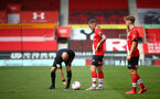 SOUTHAMPTON, ENGLAND - SEPTEMBER 1: Callum Slattery (Center) of Southampton taking free kick during a pre-season friendly match between Southampton U23 and Coventry City at St Mary's Stadium on September 1, 2020 in Southampton, United Kingdom. (Photo by Isabelle Field/Southampton FC)