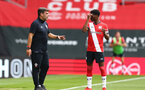 SOUTHAMPTON, ENGLAND - SEPTEMBER 1: David Horseman (L) and Nathan Tella (R) of Southampton during a pre-season friendly match between Southampton U23 and Coventry City at St Mary's Stadium on September 1, 2020 in Southampton, United Kingdom. (Photo by Isabelle Field/Southampton FC)