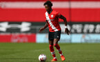SOUTHAMPTON, ENGLAND - SEPTEMBER 1: Ramello Mitchell of Southampton during a pre-season friendly match between Southampton U23 and Coventry City at St Mary's Stadium on September 1, 2020 in Southampton, United Kingdom. (Photo by Isabelle Field/Southampton FC)