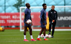 SOUTHAMPTON, ENGLAND - SEPTEMBER 03: Moussa Djenepo(L) during a Southampton FC training session at the Staplewood Campus on September 03, 2020 in Southampton, England. (Photo by Matt Watson/Southampton FC via Getty Images)