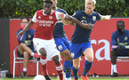 ST ALBANS, ENGLAND - SEPTEMBER 11: Josh Sims(R) of Southampton during the Premier League 2 match between Arsenal U23 and Southampton U23 at London Colney on September 11, 2020 in St Albans, England. (Photo by David Price/Arsenal FC via Getty Images)