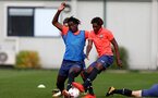 LONDON, ENGLAND - SEPTEMBER 15: Allan Tchaptchet (L) and Ramello Mitchell (R) during B Team training session Staplewood Training Ground on September 15, 2020 in Southampton, United Kingdom. (Photo by Isabelle Field/Southampton FC via Getty Images)
